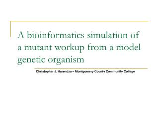 A bioinformatics simulation of a mutant workup from a model genetic organism