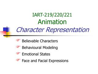 IART-219/220/221 Animation Character Representation