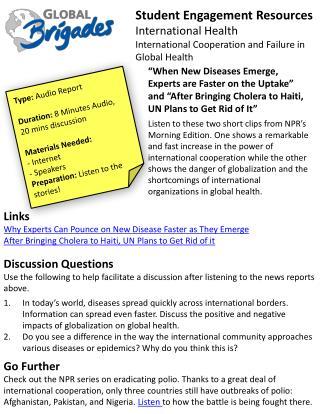 Student Engagement Resources International Health