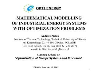 MATHEMATICAL MODELLING OF INDUSTRIAL ENERGY SYSTEMS WITH OPTIMIZATION PROBLEMS