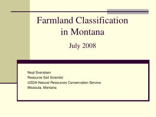 Farmland Classification in Montana July 2008