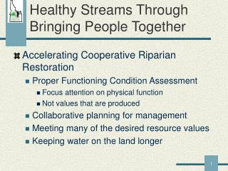 Healthy Streams Through Bringing People Together