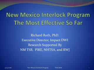 New Mexico Interlock Program The Most Effective So Far