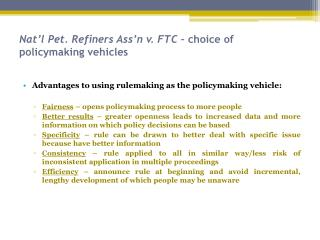 Nat'l Pet. Refiners Ass'n v. FTC  – choice of policymaking vehicles