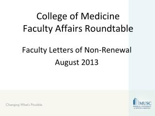College of Medicine Faculty Affairs Roundtable
