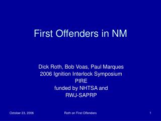 First Offenders in NM