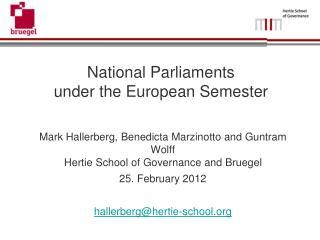 National Parliaments under the European Semester