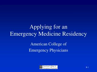 Applying for an  Emergency Medicine Residency