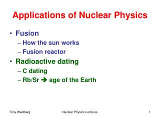 Applications of Nuclear Physics