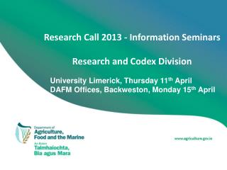 Research Call 2013 - Information Seminars Research and Codex Division