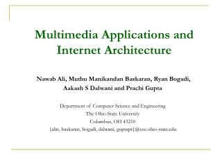 Multimedia Applications and Internet Architecture