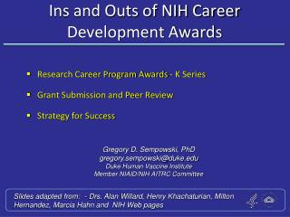 Ins and Outs of NIH Career  Development Awards