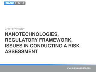 Nanotechnologies, Regulatory Framework, Issues in conducting a risk assessment