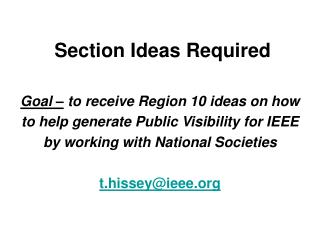 Section Ideas Required