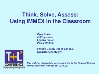 Think, Solve, Assess: Using IMMEX in the Classroom