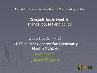 Joop ten Dam PhD NIGZ Support centre for Community Health (NSCH) slag.nu jtendam@nigz.nl