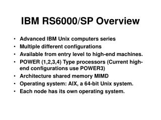 IBM RS6000/SP Overview