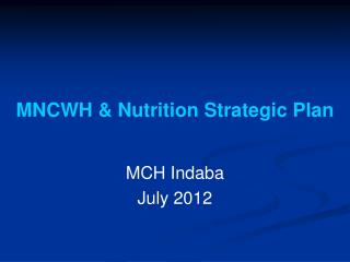 MNCWH & Nutrition Strategic Plan