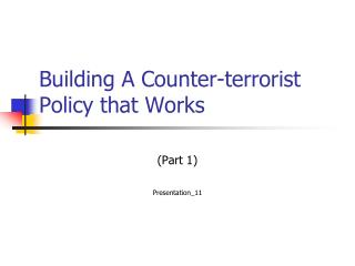 Building A Counter-terrorist Policy that Works