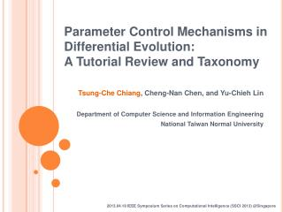 Parameter Control Mechanisms in Differential Evolution:  A Tutorial Review and Taxonomy