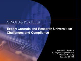 Export Controls and Research Universities: Challenges and Compliance