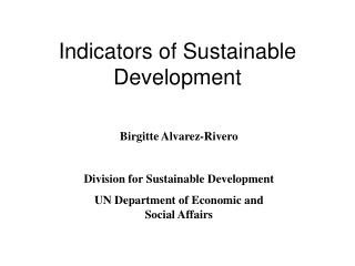 Indicators of Sustainable Development
