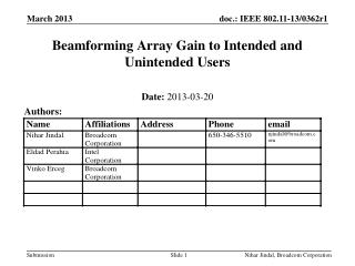Beamforming Array Gain to Intended and Unintended Users