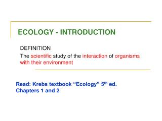 ECOLOGY - INTRODUCTION