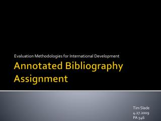Annotated Bibliography Assignment