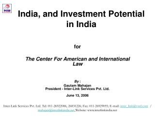 India, and Investment Potential  in India