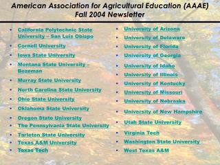 American Association for Agricultural Education (AAAE) Fall 2004 Newsletter