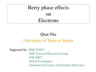 Berry phase effects  on  Electrons