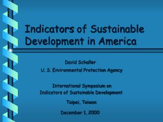 Indicators of Sustainable Development in America