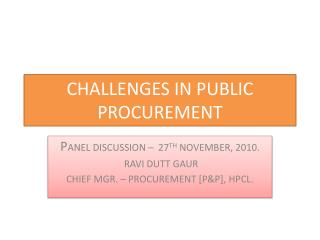 CHALLENGES IN PUBLIC PROCUREMENT