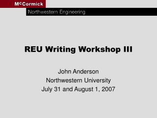 REU Writing Workshop III