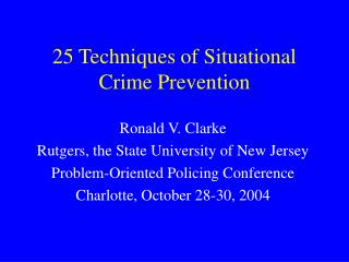 25 Techniques of Situational Crime Prevention