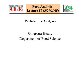 Food Analysis  Lecture 17 (3/29/2005)