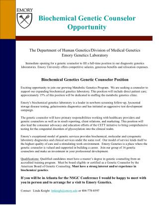Biochemical Genetic Counselor Opportunity