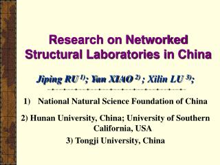 Research on Networked Structural Laboratories in China