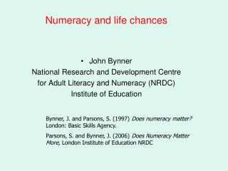 Numeracy and life chances