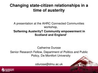 Changing state-citizen relationships in a  time of austerity