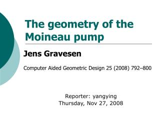 The geometry of the Moineau pump