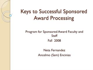 Keys to Successful Sponsored Award Processing