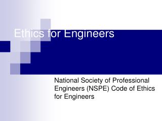 Ethics for Engineers
