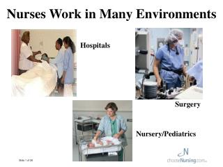 Nurses Work in Many Environments