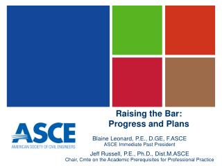 Raising the Bar: Progress and Plans