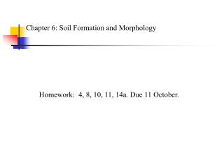 Chapter 6: Soil Formation and Morphology