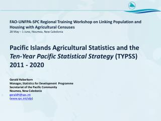 Ten-Year Pacific Statistics Strategy, 2011 – 2020