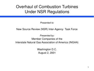 Overhaul of Combustion Turbines  Under NSR Regulations