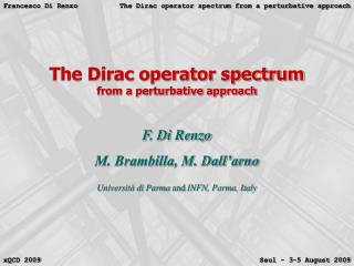 The Dirac operator spectrum from a perturbative approach